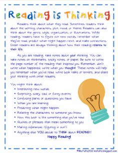 Reading is Thinking! Could turn this into a letter for parents for reading homework.