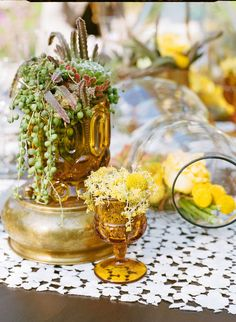 succulents & yellow flowers