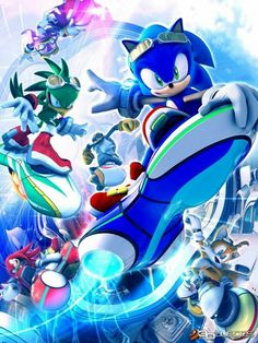 Sonic The Hedgehog Sonic Riders Anime Art Poster 0337647 Sonic The Hedgehog, Hedgehog Art, Silver The Hedgehog, Sonic Free Riders, Nintendo, Imagenes My Little Pony, Sonic Heroes, Mario, Sonic Franchise