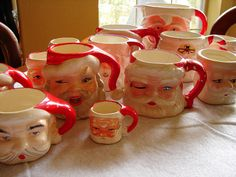 santa mugs... I have two of these that belonged to my Grandmother.  Special Memories.