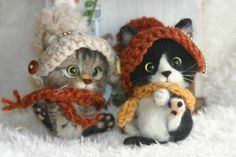Needle felted kittens by tytm3636 on Yahoo Auctions Japan
