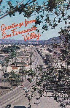 San Fernando Valley California Birds-Eye View Greetings Vintage Postcard - Mary L. Martin Ltd. California History, Vintage California, California Dreamin', Sun Valley California, San Fernando California, Cities, San Fernando Valley, Nostalgia, Visual Identity