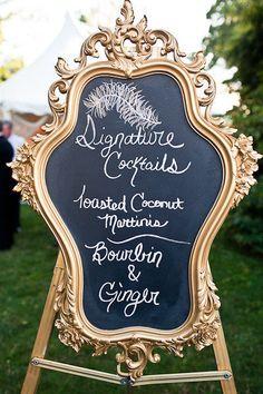 signature cocktails chalkboard