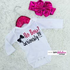 """Cute Baby Outfit - """"No Bow Seriously?"""" White With Hot Pink"""