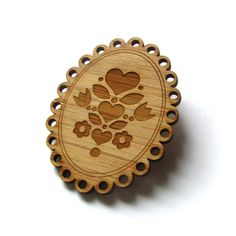Cameo Heart Pin. Cameo Pin. Cameo Brooch. Wood Cameo. Bamboo Pin. Laser Cut Pin. Teacher Gift. Gifts Under 20. Gift for Mom. Valentines Day.