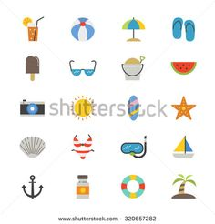 Summer Relax and Beach Flat Icons color