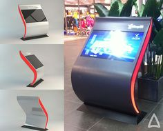 the goal was to design slightly futuristic info kiosk and info graphics for local mall. Kiosk Design, Signage Design, Booth Design, Store Design, Digital Kiosk, Digital Signage, Interactive Installation, Interactive Design, Info Kiosk