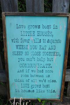 Love grows best in little houses...blue by JolieCustomWoodArt
