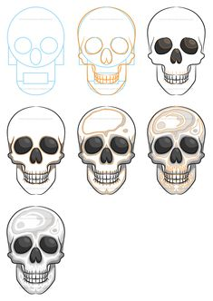 Drawing Techniques Learn how to draw a simple skull filled with solid shapes and colors. Simple Skull Drawing, Easy Skull Drawings, Skeleton Drawings, Art Drawings Sketches, Skull Artwork, Skull Painting, Drawing Cartoon Characters, Cartoon Drawings, Cartoon Faces