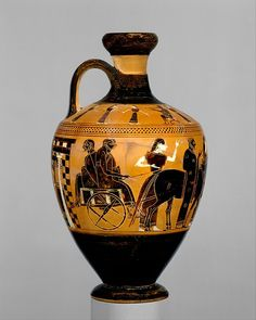 This is the earliest and most complete known representation of an Attic wedding. The bridal couple with the best man behind them sit in a cart drawn by two donkeys. Terracotta lekythos (oil flask), ca. 550–530 B.C., attributed to the Amasis Painter.