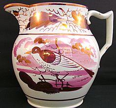 Sunderland pink lustre jug with bird c.1830
