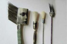the art room plant: Jo Lawrence Combines photographs and found objects to make illustrations Paint Brush Art, Paint Brushes, Collages, Collage Art, Handmade Paint, Creation Deco, Assemblage Art, Mark Making, Drawing Tools