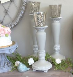 Wedding Candle Holders Table Centerpiece French Shabby Chic Home Decor set of 3