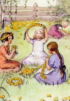 girls and flower garlands Vintage Children's Books, Vintage Postcards, Vintage Art, Girl Face Drawing, Children's Book Illustration, Christmas Art, Cute Art, Art For Kids, Fairy Tales