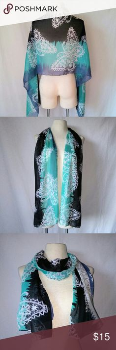 "2for1 BUTTERFLIES Sheer Scarf Turquoise Aqua Blue & Black Sheer Long Scarf with Butterfly Design. No tags. In excellent used condition. From a smoke free home. Make an offer! SAVE on SHIPPING & get a DISCOUNT by making a BUNDLE! Get 20% off on 2+ items. 2for1 SCARF SALE: Buy one ""2for1"" scarf at full price and get another scarf of equal or lesser value for free! Purchase the first scarf, comment on the second scarf, & I'll ship both! Vintage Accessories Scarves & Wraps"