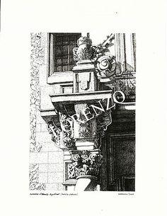 Almansa, Detalle fachada Convento de las Agustinas. Dibujo a plumilla sobre papel