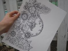 Clock in the Garden zentangle drawing by doodledinstrawberry
