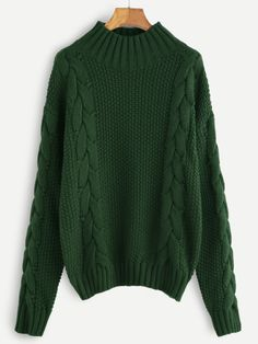 62a08e46f1 Green Cable Knit Turtleneck Sweater Green Turtleneck