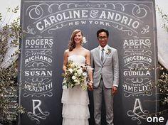 Amazing chalkboard photo backdrop #wedding