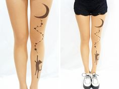 Chasing the Moon Cat Tattoo Tights