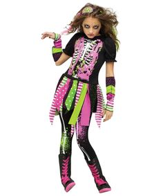 Neon Hipster Zombie Girls Costume