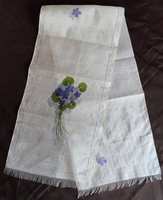 RARE 1940's 1950's Early Vintage Vera Neumann Silk Long Scarf Fringe Violets  Am absolutely crazy about this one. Notice the shadow of the flower? Many of her early designs incorporated shadows near the prints of flowers and leaves.