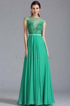 Capped Sleeves Green Embroidered Evening Dress Formal Dress (00153504) #edressit #greendress #fashion