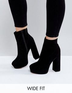 ASOS ESCAPE – Boots with platform heel in wide fit – Black Order now at: mode. ASOS ESCAPE – Boots with platform heel in wide fit – Black Order now at: mode. Black Platform Boots, Black Heel Boots, Platform High Heels, High Heel Boots, Heeled Boots, Shoe Boots, Women's Shoes, Black High Heels, Shoes Style