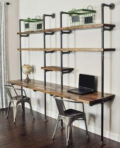 A desk and shelf wall unit with the design you want and the function you need. The industrial strength pipe fittings support long stained 2 x 12 planks, ...