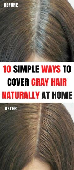 10 Simple Ways To Cover Gray Hair Naturally At Home - Christmas-Desserts Grey Hair Dye, Grey White Hair, Dyed Hair, Greasy Hair Hairstyles, Trendy Hairstyles, Hair Remedies, Natural Remedies, To Color, Hair Color