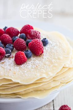 Perfect Crepes are a light and thin pancakes that is simply blended batter that makes a sweet or savory breakfast for any day. The toppings are endless! Breakfast Desayunos, Breakfast Dishes, Breakfast Recipes, Mexican Breakfast, Pancake Recipes, Waffle Recipes, Perfect Breakfast, Breakfast Sandwiches, Breakfast Ideas