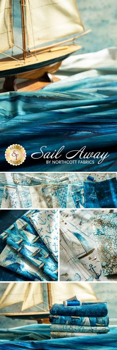 Sail Away is a stunning nautical themed collection by Melanie Samra and Deborah Edwards for Northcott Fabrics! This collection features gorgeous sailboats, ocean views, and a beautiful watercolor look! Sail Away, Ocean Views, Sailboats, Nautical Theme, Sailing, Fabrics, Watercolor, Quilts, Landscape