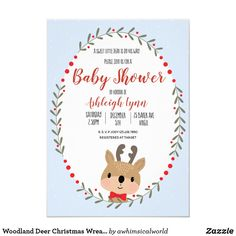 Woodland Deer Christmas Wreath Boy Baby Shower Invitation