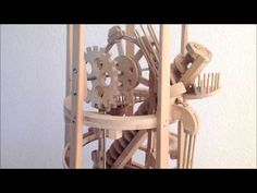 Since Paul Grundbacher of Switzerland has spent his winter free time building seven amazing marble machines. Crafted almost entirely from wood, each Rolling Ball Sculpture, Marble Tracks, Marble Machine, Mechanical Power, Perpetual Motion, Kinetic Art, Woodworking For Kids, Simple Machines, Wooden Clock