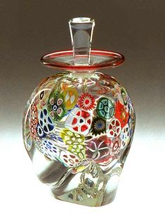 """Multi-Murrini Perfume Bottle""  Art Glass Perfume Bottle  Created by Mary Mullaney and Ralph Mossman"