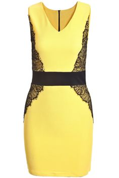 Yellow Contrast Lace V Neck Bodycon Dress 14.33