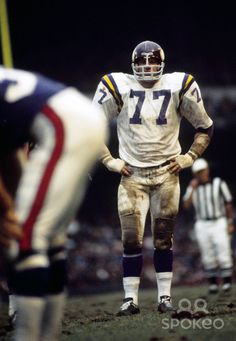 Minnesota Vikings defensive tackle Gary Larsen (77) on the field against the New York Giants at Yankee Stadium.