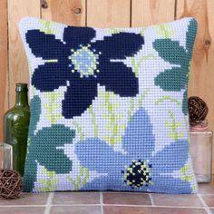 'Cluster' Cross Stitch Cushion Kit by Twilleys of Stamford. Modern Cross Stitch Patterns, Cross Stitch Designs, Wool Embroidery, Cross Stitch Embroidery, Cross Stitch Cushion, Cross Stitch Flowers, Cross Stitching, Stamford, Needlepoint