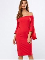 #Gamiss - #Gamiss Off The Shoulder Flounce Sleeve Bodycon Dress - AdoreWe.com