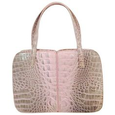 Pre-Owned Exquisite Emanuel Ungaro Pink and Grey Alligator Handbag ($1,295) ❤ liked on Polyvore featuring bags, handbags, pink, pink handbags, hand bags, man bag, grey purse and snap purse