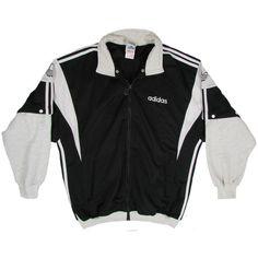 RETRO ADIDAS JACKET Black White Vintage 90s Jacket Size Large ($118) ❤ liked on Polyvore featuring adidas