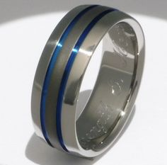 Two Thin Blue Line Titanium Band Sable by TitaniumRingsStudio, $179.00