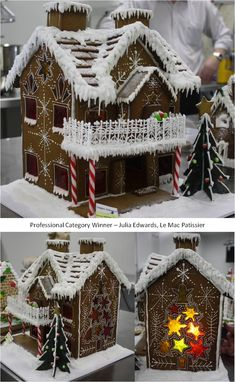 2013 Ginger Bread House Competition - this gingerbread chalet is awesome! Cool Gingerbread Houses, Gingerbread House Parties, Gingerbread Village, Christmas Gingerbread House, Christmas Cookies, Gingerbread Cookies, Homemade Gingerbread House, Christmas Baking, Christmas Holidays