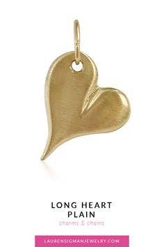 Our Long Heart Plain set in gold is the perfect addition to your charm collection. It's cool and dainty and looks great worn alone or paired with one of our other charms! Yellow Gold Length is Width is Brushed Finish LS Collection Jewelry Collection, It Is Finished, Charmed, Pairs, Chain, Heart, Gold, Chain Drive, Yellow