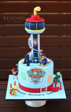 Beyond the Frosting - Ostern Paw Patrol Birthday Cake, 4th Birthday Cakes, Paw Patrol Party, Birthday Ideas, Pastel Paw Patrol, Paw Patrol Lookout, Torta Paw Patrol, Dessert Original, Couture Cakes