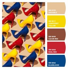 #Paint colors from #ChipIt! by #Sherwin-Williams hotness! fabulous #palette inspiration fashion pumps stilettos real red blueblood confident yellow and putty beige warm bright cheerful fun friendly couture birthday party theme color scheme kids room playroom boys room Mondrian pop art Lichtenstein comic books modern 60s primary colors
