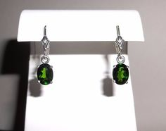 Natural Chrome Diopside Dangle Earrings in Solid .925 Sterling #Handmade #DropDangle