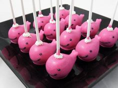 Pink whale cake pops by www.chicagocakepops.com