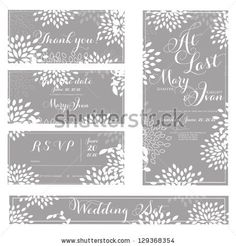 stock vector : Wedding invitation, thank you card, save the date cards. Wedding set. RSVP card