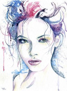 Artwork by Cora, 2014 watercolor, cm in) Miracle Watercolor Art Face, Watercolor Portraits, Watercolor Illustration, Watercolor Trees, Watercolor Landscape, Art Visage, Portrait Art, Female Art, Painting & Drawing